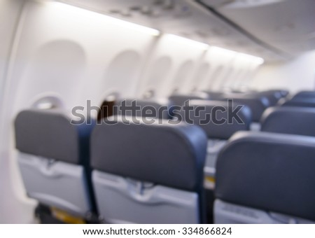 Blurred inside airplane, airplane cabins blur