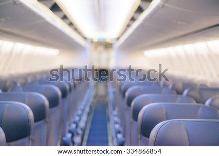 Blurred inside airplane, airplane cabins blur - stock photo