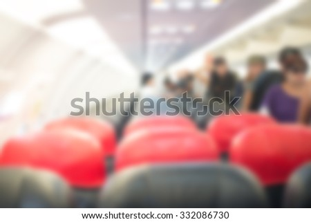 Blurred Interior of airplane. - stock photo