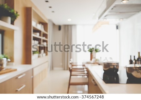 Blurred Kitchen at and dinning table - stock photo