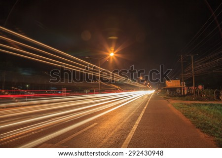 Blurred Light  on the road  Motion Blur  abstract backgrounds - stock photo