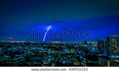 Blurred: Lightning over city at night, Blurred city with lightning