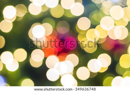 Blurred lights bokeh of Christmas tree