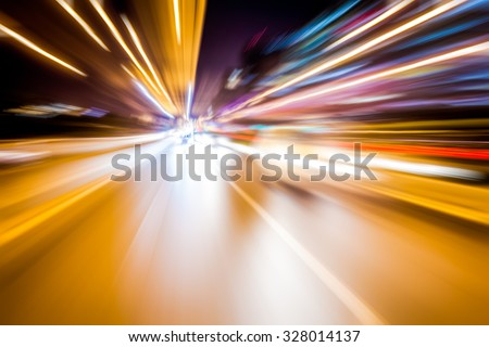Blurred lights, long exposure photo of traffic