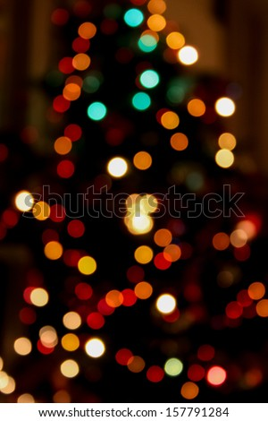 blurred lights. of Christmas tree. Boken effect - stock photo