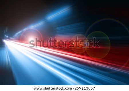 Blurred lights of Police car, long exposure