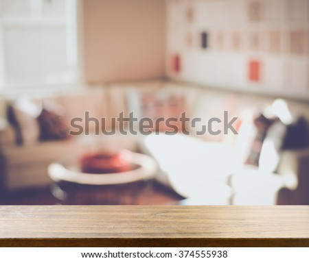 Blurred Living Room with Couches applying Retro Instagram Style Filter - stock photo