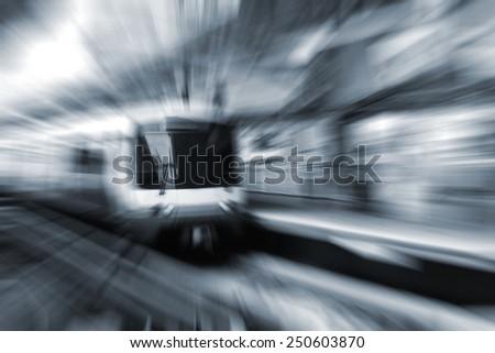 blurred metro train - stock photo