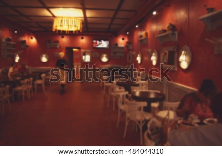 Blurred modern cafe interior background