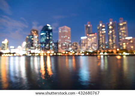 blurred modern city with bokeh for use as background