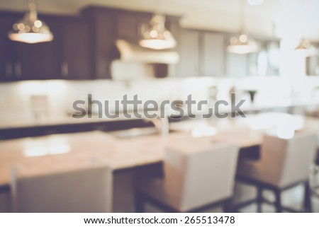 Blurred Modern Kitchen with Retro Instagram Style Filter - stock photo