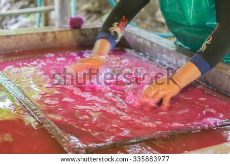 Blurred motion,How to make the process of mulberry paper / fabric. Arts and crafts.Making paper sheets from mulberry pulp, near Chiang Mai Thailand.