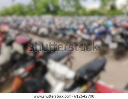 Blurred motorcycle parking for texture background