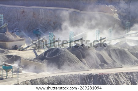 blurred mountain mining minerals extraction - stock photo