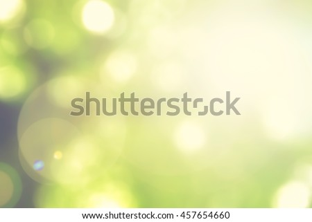 Blurred nature background of a view looking up through the foliage of a tree against the sky facing sun flare and bokeh: Blurry natural greenery wood view in bright green lime yellow color tone - stock photo