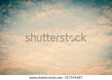Blurred nature background of scattered clouds on sky in cool vintage color tone: Blurry natural greenery view cloudy retro style: Blissful holiday summer sandy beach dreamy vacation backdrop design