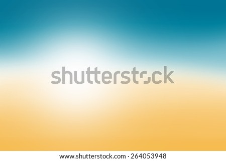Blurred nature background. Sandy beach backdrop with turquoise water and bright sun light. Summer holidays concept - stock photo