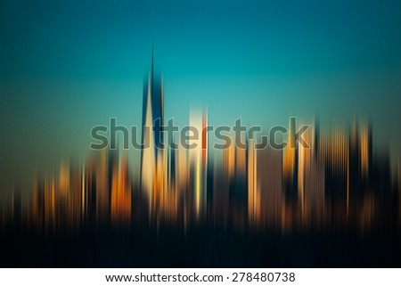 Blurred New York City background. View of Manhattan skyline in NYC - stock photo