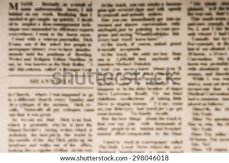 Blurred newspaper background is bokeh for your edit. - stock photo