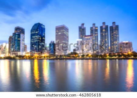 Blurred night cityscape Suan benja kitti in Bangkok ,Thailand,out of focus.