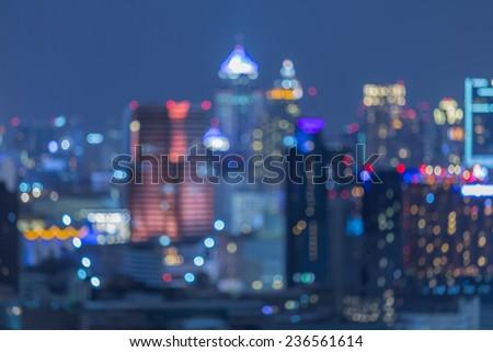 Blurred of City night light downtown of Bangkok - stock photo