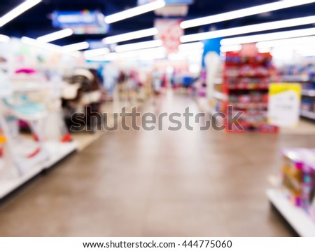 Blurred of kids toy store background with bokhe - stock photo