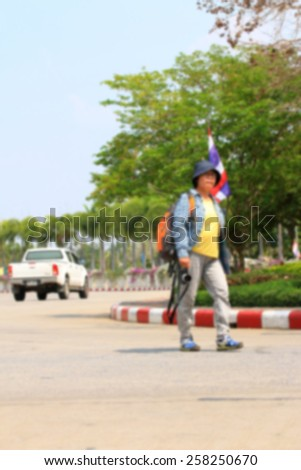 blurred of people on park