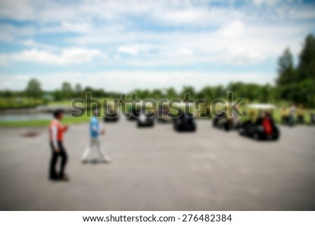 Blurred of playing golf with dark border - stock photo
