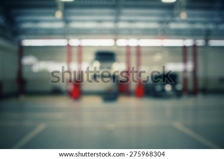 Blurred of repair service station - stock photo