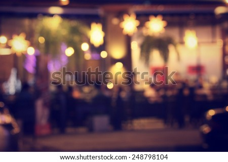 Blurred of restaurant at night - stock photo