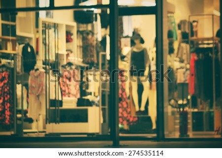 Blurred of shopping mall at night - stock photo