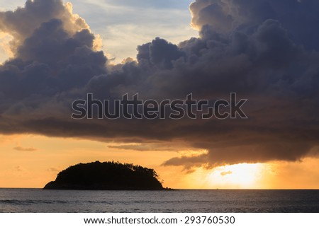 blurred of silhouette island