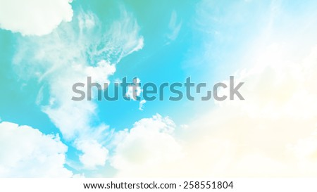 blurred of sky and cloud in the vintage retro pastel tone.for backgrounds. - stock photo