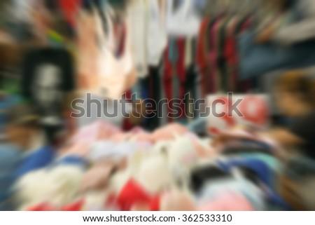 Blurred of  Thai lingerie underwear shop at market. - stock photo