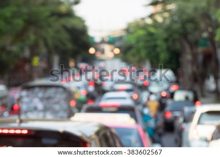 Blurred of traffic in Bangkok Thailand.