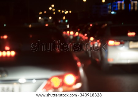 Blurred of traffic in the night time. - stock photo