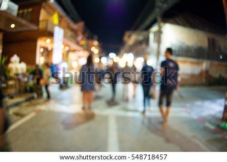 Blurred of walking street in thailand.