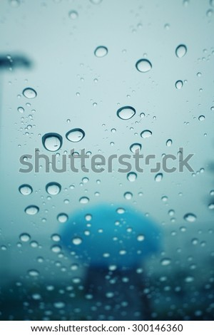 Blurred of water drop with umbrella