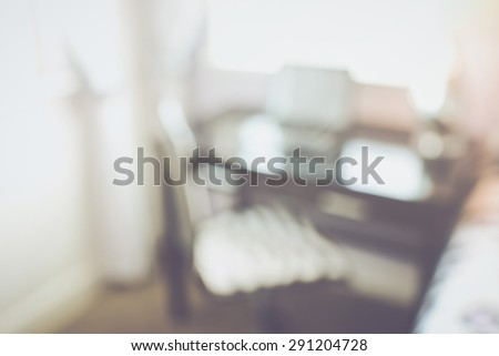 Blurred Office in Bedroom with Computer applying Retro Instagram Style Filter - stock photo