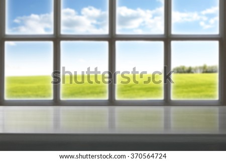 blurred old retro window sill and gray top