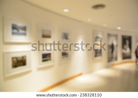 Blurred or defocus of Art Gallery or Museum Background - stock photo