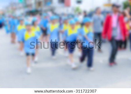 blurred Parade for sporting day