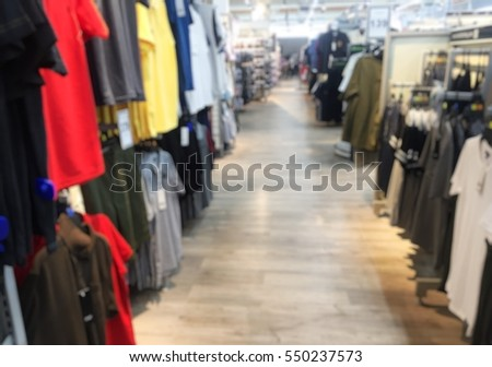 Blurred passage in a clothing store in Department store