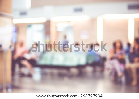 Blurred patient waiting for see doctor,abstract background. - stock photo