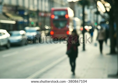 Blurred People, street of London - stock photo