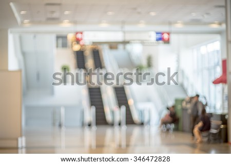 Blurred photo of escalators in shopping mall, bokeh background, Business concept - stock photo