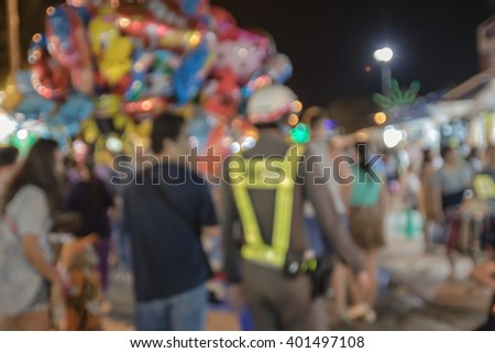 Blurred photo of police,public administrator at the Thai temples festival is held once a year, according to Thai temples around the country - stock photo