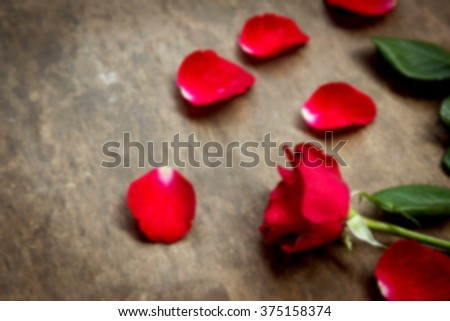 Blurred photo of red roses in dark tone