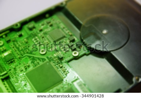 Blurred Picture of Electronic Junk from Computer Hard Disk Component for Texture Background - stock photo
