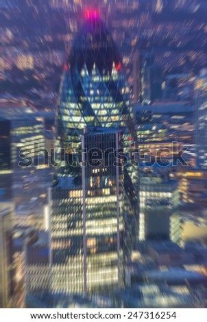 Blurred picture of London night skyline. Top view - stock photo